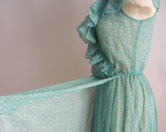 Vintage Floral Wrap Dress Aqua Blue Ruffles / size range small 6 8 10 / NEARLY SHEER Sleeveless 1980s