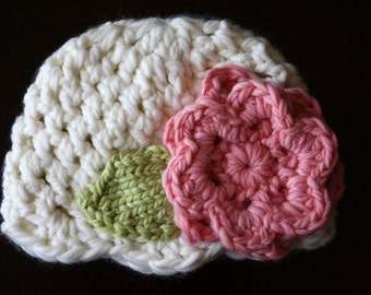 PDF Crochet Pattern for Bulky Weight Cream Hat with Pink Accent flower (Sizes: Newborn to Adult Lg) Instant Download