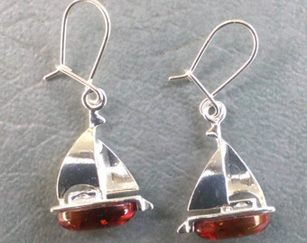 Sailing Anyone? - Sterling & Baltic Amber Earrings