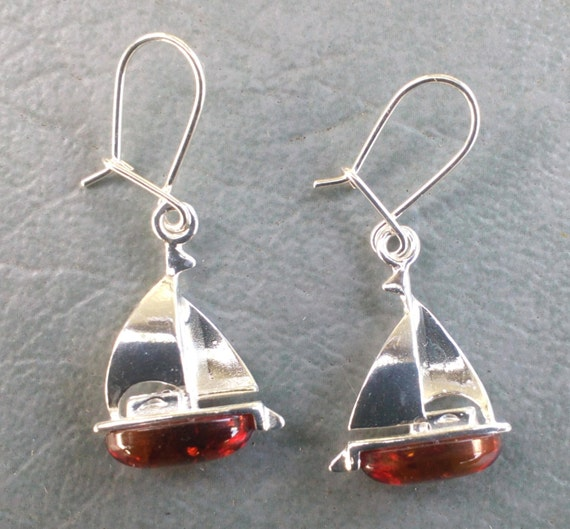 Sailing Anyone? - Sterling & Baltic Amber Earrings