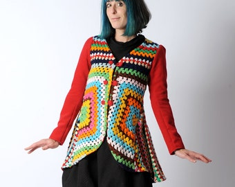 Colorful upcycled jacket, Granny square crochet swallowtail jacket, long sleeved multicolored cardigan sz UK 8