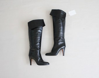 black leather over the knee boots | vintage geoffrey beene boots | size 7.5 boots
