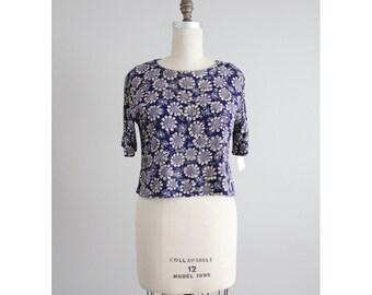 floral crop top / pierre cardin blouse / 90s floral blouse