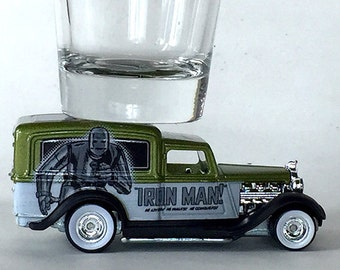 the Original Hot Shot shot glass, '34 Dodge Delivery Truck, Iron Man, Marvel, hot wheel vehicle
