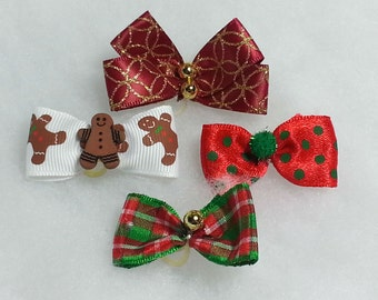 Small Christmas Dog Bows - SMALL BOW Assortment - 10 single bows