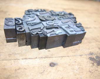Lot of metal Printers type various sizes Letterpress numbers letters symbols you get all