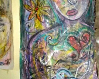 Compassionate Heart original painting mixed extra large PeaceSwirl