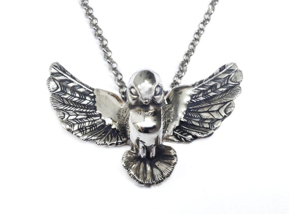 Bird Necklace silver gold statement charm pendant