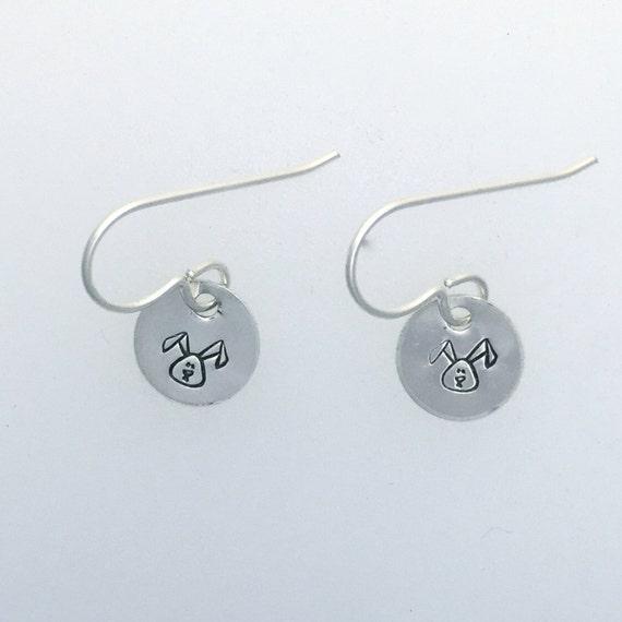 Tiny Circle Earrings-Recycled Sterling Tag earrings- Vegan Earrings-Animal Earrings-Vegan Earrings-Vegan Gift-Yoga Earrings-Birthday