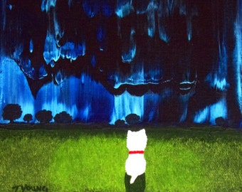 Westie Terrier Dog Folk Art PRINT Todd Young painting BLUE NIGHT