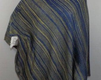 Handmade Knit Poncho - Blue and Gold Random Stripes