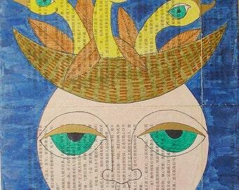 Face wall art, Birds wall art, female wall art, woman wall art, face art, birds art, female art woman art face mixed media birds mixed media