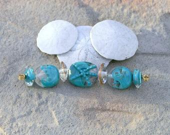 SALE Handmade Lampwork Glass bead Set  Ocean Sea Shore Water Waves Nautical Starfish Turquoise Artisan Handmade Bead Generationslampwork SRA