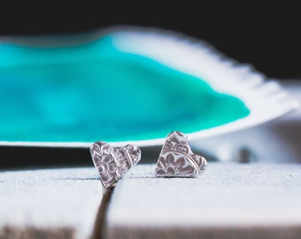Paisley Heart Post Earrings  {Hand Stamped PMC 960 + Sterling Silver}