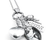 Cremation urn necklace, Hand Stamped Charm, Personalized Name, Birthstone Memorial Urn Jewelry