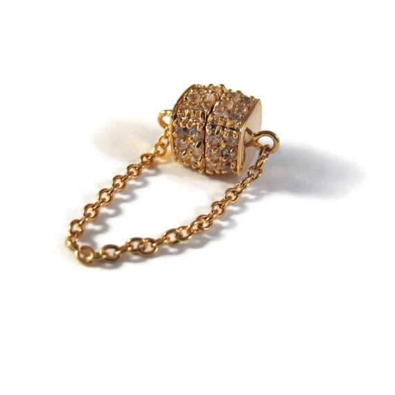 Gold Magnetic Clasp, Pave Set with Swarovski Crystals, Gold Filled Strong Magnetic Clasp w/ Safety Chain, High Quality Jewelry Supplies (LS)