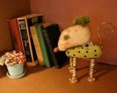 ooak rat art doll, sandy mastroni,original doll,bizarre, mouse art , creature art ,fabric sculpture, shelf art