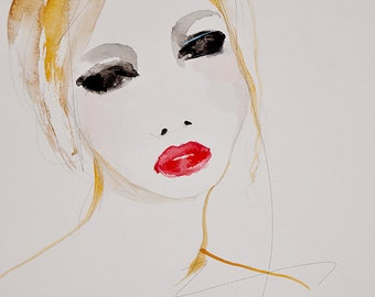 Sweet Fault - Fashion Illustration Portrait Watercolor Giclee Art Print, Sketchbook Series