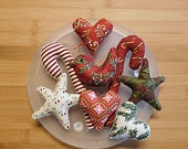Bird Star Heart Candy Cane Primitive Christmas Ornaments Decorations
