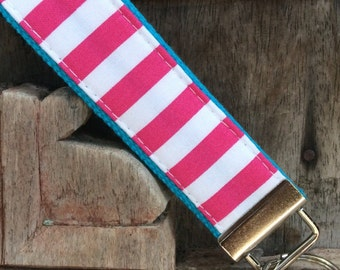 READY TO SHIP-Beautiful Key Fob/Keychain/Wristlet-White and pink on turq