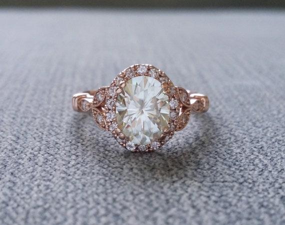 estate halo moissanite antique engagement ring