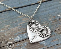Heart Spoon Necklace - Spoon Heart Pendant - Inspired by Antique Victorian Silverware - Doctorgus Handmade Pewter Jewelry Creations - Boho