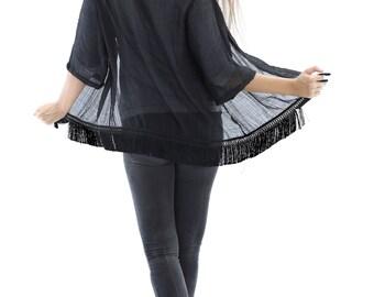 Boho Kimono Black Silk Fringe Swim Cover Up / Cardigan / Sheer Evening Jacket // Made in USA