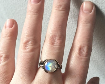 Faceted Rainbow Moonstone and Bronze Woodland Vine Ring