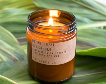 No. 26: COPAL - 7.2 oz soy wax candle - herbal  / cedar & cypress / resin incense - P.F. Candle Co.