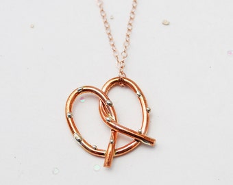 Pretzel Love Necklace in rose gold filled