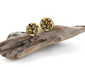 Wood Leaf Stud Earrings, Yellow Floral Studs, Wood Burned Jewelry, Girl Gifts, Hypoallergenic Nickel Free Stud Earrings for Sensitive Ears