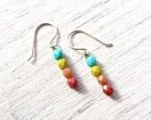 Beaded Dangle Earrings // Small Earrings // Gifts for Teen Girls // Colorful Earrings // Simple Jewelry // Gifts Under 20 / Handmade Jewlery