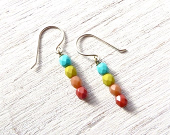 Beaded Dangle Earrings // Small Earrings // Gifts for Teen Girls // Colorful Earrings // Simple Jewelry // Gifts Under 20 / Handmade Jewlery