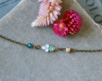 Opal and pearl choker necklace /short necklace /beaded choker /boho necklace.Tiedupmemories