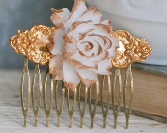 Antique white rose wedding hair comb. Tiedupmemories