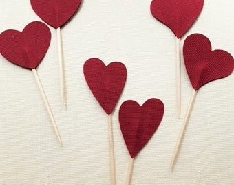 Heart Cupcake Topper/Party Picks - Set of 12