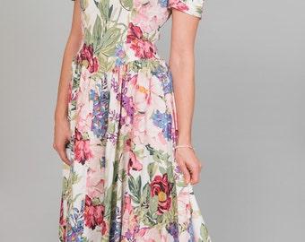 SALE-20% OFF-Vintage Off Shoulder Floral Garden Tea Party Dress (Size Medium)