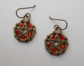 Brass Pentacle Earrings -- Brass Pentagrams, Fire Opal Swarovski Crystals, Wire Wrapped Antique Brass, Niobium Ear Wires