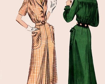 Vintage 40s CLASSY One Piece Fitted Dress Vintage Sewing Pattern Simplicity 3097  Size 18 Bust 36