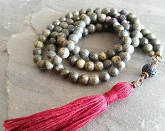 Green and Black Boho Tassel Mala Necklace with Maroon Tassel