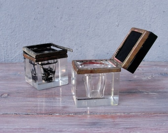 Vintage Art Deco Crystal Inkwells Square Inkwell with Black Lid 1930's set of two