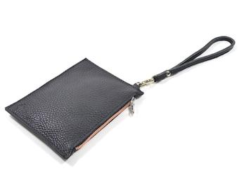 Mimi - Handmade Black Leather Clutch Bag Zip Pouch Purse SS16