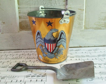Vintage Ohio Art Bicentennial Eagle Pail and Shovel