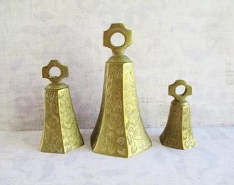 Set of Three Vintage Etched Brass Bells
