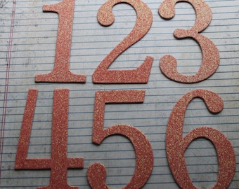 Numbers 1-20 SALMON glittered chipboard 4 inch tall SERIF numbers