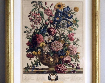 Vintage Botanical Print, Floral Bouquet Wall Hanging, Bombay Company Print, June March Calendar Page, 1970s Antique Reproduction, Gold Frame