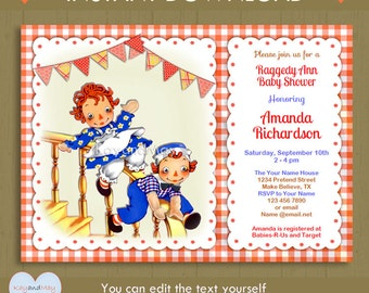 Raggedy Ann baby shower or birthday invitation Raggedy Andy invite / Rag doll theme party / Instant Download #P-21H - editable text PDF