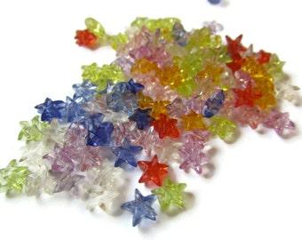 Star Beads 100 6mm Mixed Color Beads Acrylic Star Beads Celestial Beads Jewelry Making Loose Beads Destash Beads Rainbow Beads Plastic Beads