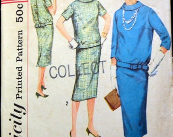 Vintage 1958 Sewing Pattern Simplicity 2600 Misses' Two-Piece Dress  Bust 33 Inches Complete Simple to Make Kick Pleat