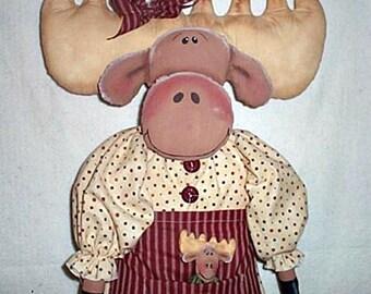 Moose Doll Pattern, Primitive Doll Pattern, Cloth Doll Pattern, Doll Pattern, Bag Holder Pattern, E-Pattern, Marcella Moose & Baby